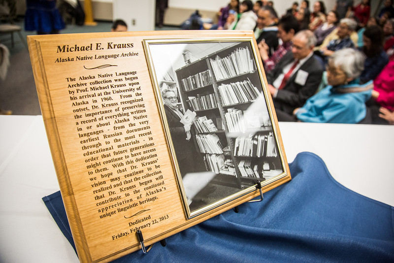"""The Michael E. Krauss Alaska Native Language Archive was dedicated Friday, February 22, 2013, at the Rasmuson Library.  <div class=""""ss-paypal-button"""">Filename: AAR-13-3743-16.jpg</div><div class=""""ss-paypal-button-end"""" style=""""""""></div>"""