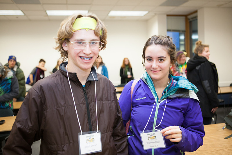 "Students Jacob Gerrish and Charlotte Stark flash their name badges after a mock philosophy class durin Discover UAF's InsideOut program in late October 2012.  <div class=""ss-paypal-button"">Filename: AAR-12-3614-87.jpg</div><div class=""ss-paypal-button-end"" style=""""></div>"