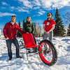 "Mechanical engineering majors Neil Gotschall, left, Daniel Sandstrom and Eric Bookless pose with their fat tire ski bike they designed and built for paraplegic users as their spring 2016 senior design project. The bike is powered by pushing and pulling on the handles.  <div class=""ss-paypal-button"">Filename: AAR-16-4856-49.jpg</div><div class=""ss-paypal-button-end""></div>"