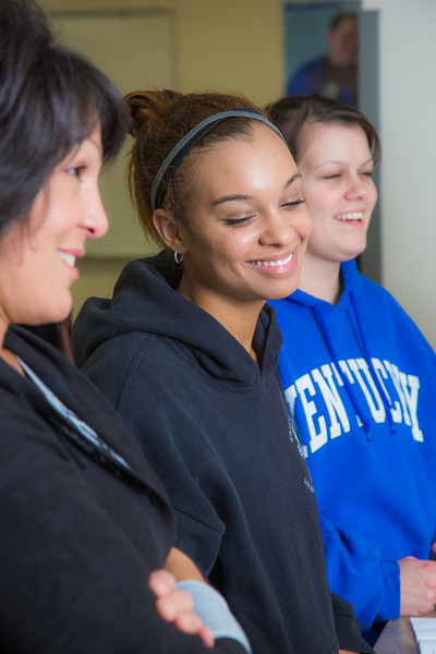 """Students Renee Mathena, left, Sharisse Watkins, center, and Kaylee Dennis react during a procedure demonstration in the nurse aide training program at UAF's Community and Technical College.  <div class=""""ss-paypal-button"""">Filename: AAR-12-3548-138.jpg</div><div class=""""ss-paypal-button-end"""" style=""""""""></div>"""