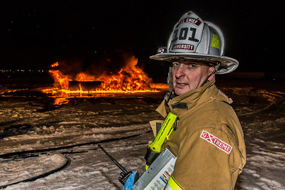 University Fire Department Chief Doug Schrage was on the scene during a live training drill with student firefighters at the Fairbanks International Airport.  Filename: AAR-13-3995-122.jpg
