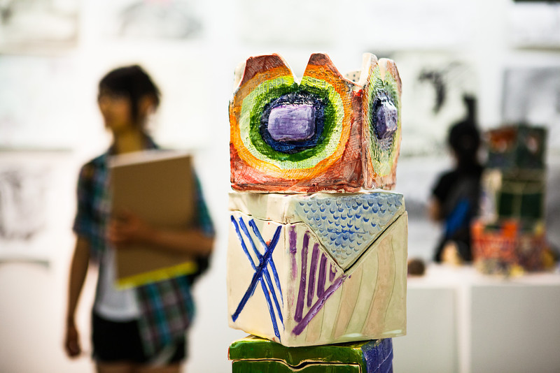 """Students, parents, faculty, and community members view the artwork from the two-week Visual Arts Academy is showcased at the University Art Gallery.  <div class=""""ss-paypal-button"""">Filename: AAR-13-3865-21.jpg</div><div class=""""ss-paypal-button-end"""" style=""""""""></div>"""