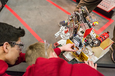 High school students from throughout Alaska squared off in the Patty Gym in February for an annual robotics competition.  Filename: AAR-14-4110-34.jpg