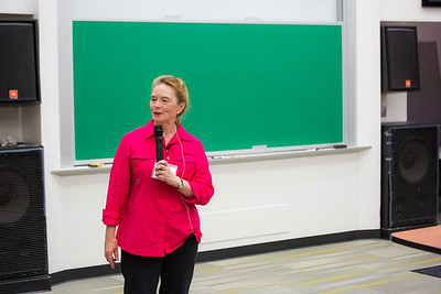 Linguistics professor Siri Tuttle welcomes the 2016 Collaborative Language Research conference at the Schaible Auditorium on the Fairbanks campus.  Filename: AAR-16-4919-6.jpg