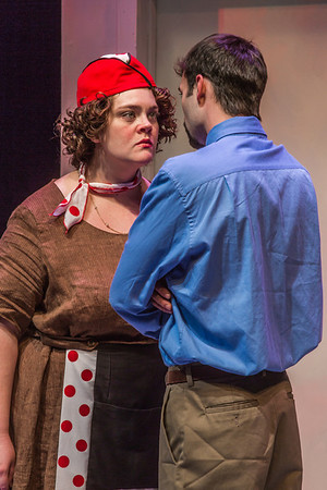 "Cast members rehearse a scene from Theatre UAF's  production of ""Nickel and Dimed"" in the Salisbury Theatre.  Filename: AAR-13-3974-12.jpg"