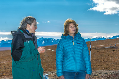 Donie Bret-Harte, associate science director at UAF's Toolik Field Station, explains some of the research efforts underway near the arctic facility with U.S. Senator Lisa Murkowski during a brief tour in Sept. 2013.  Filename: AAR-13-3929-328.jpg
