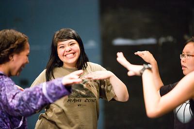 RAHI student Jennifer Ruiz, 17, of Togiak, dances a tradtional Alaska Native Dance with the young women during dance class.  Filename: AAR-12-3452-42.jpg