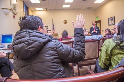 Professor Mike Davis and his students in RD 492 - Understanding the Legislative Process, meet with Rep. Scott Kowasaki, (D, Fairbanks) in a legislative conference room during their week-long seminar in Juneau.  Filename: AAR-13-3714-745.jpg
