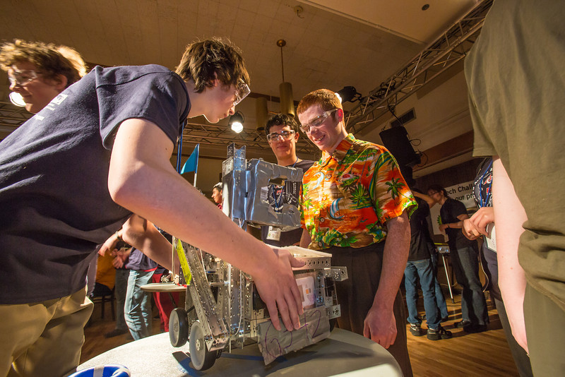 """High school students from throughout Interior Alaska squared off in the Wood Center ballroom in February for an annual robotics competition.  <div class=""""ss-paypal-button"""">Filename: AAR-13-3729-8.jpg</div><div class=""""ss-paypal-button-end"""" style=""""""""></div>"""