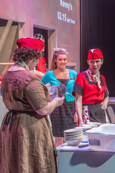"""Cast members rehearse a scene from Theatre UAF's  production of """"Nickel and Dimed"""" in the Salisbury Theatre.  <div class=""""ss-paypal-button"""">Filename: AAR-13-3974-25.jpg</div><div class=""""ss-paypal-button-end""""></div>"""