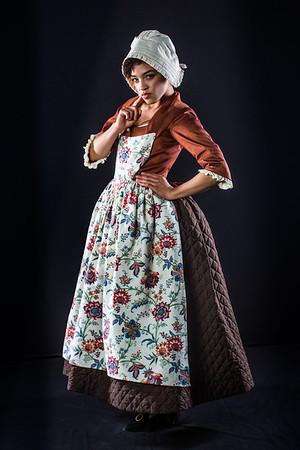 Cast members from Theatre UAF's spring 2014 production of Tartuffe display their costumes.  Filename: AAR-14-4134-140.jpg