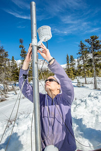 Daisy Huang, left, a research engineer for the Alaska Center for Energy and Power, helps set up a remote meteorological station on a hillside near the Black Rapids Lodge, about 150 miles southeast of Fairbanks. The station will record wind speed and direction, as well as temperatures at different altitudes.  Filename: AAR-13-3843-115.jpg