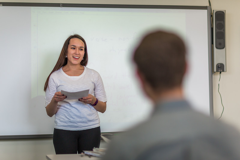 "Jesslyn McGowan from Bethel presents to her English class at UAF's Kuskokwim Campus in Bethel.  <div class=""ss-paypal-button"">Filename: AAR-16-4859-243.jpg</div><div class=""ss-paypal-button-end""></div>"
