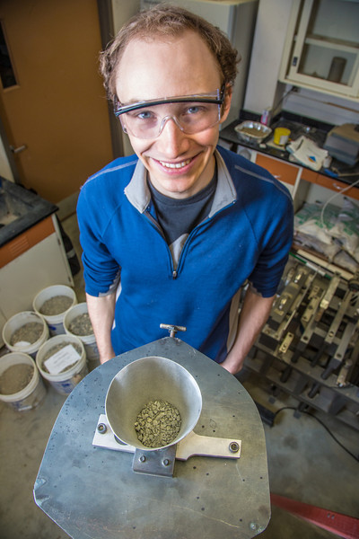 "Engineering major Cody Klingman prepares to measure dust fallout from a sampling device manufactured in a Duckering building lab.  <div class=""ss-paypal-button"">Filename: AAR-13-3812-5.jpg</div><div class=""ss-paypal-button-end"" style=""""></div>"