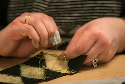 Local residents learn traditional arts and crafts such as beading and skin sewing at UAF's Kuskokwim Campus in Bethel.  Filename: AAR-16-4859-574.jpg