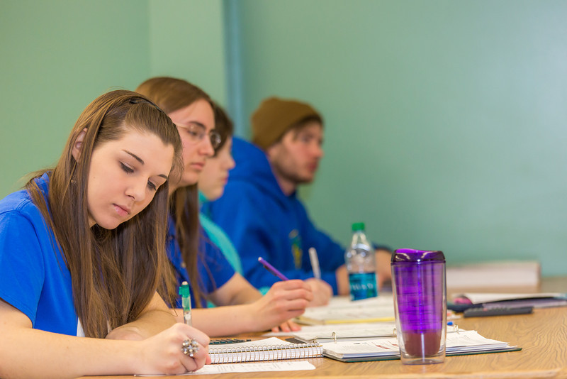"""Schoof of Management students Sophie Marcinkowski, Emily Blanchard, Emily Ahem and Brennan LaBuda take notes in their intermediate accounting class.  <div class=""""ss-paypal-button"""">Filename: AAR-14-4112-62.jpg</div><div class=""""ss-paypal-button-end"""" style=""""""""></div>"""