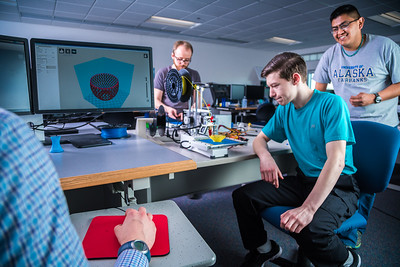 Students take advantage of the facilities in UAF's Community and Technical College's 3-D print lab in downtown Fairbanks.  Filename: AAR-16-4857-112.jpg