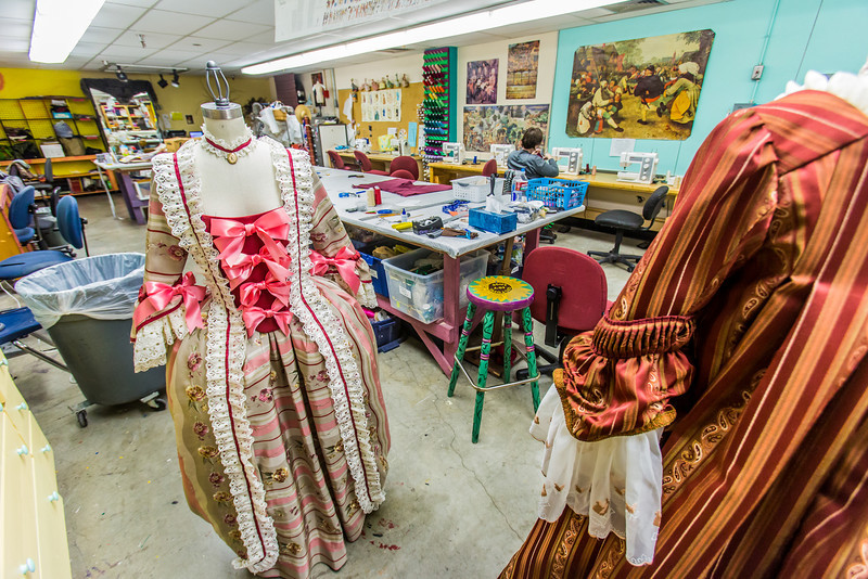 """Garments for the Theatre UAF production of Tartuffe are assembled in the costume room in the Fine Arts complex.  <div class=""""ss-paypal-button"""">Filename: AAR-14-4095-2.jpg</div><div class=""""ss-paypal-button-end"""" style=""""""""></div>"""