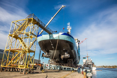The R/V Sikuliaq sits on the pad at Marinette Marine Corporation in Marinette, Wisc., a day before it's official launch.  Filename: AAR-12-3592-56.jpg