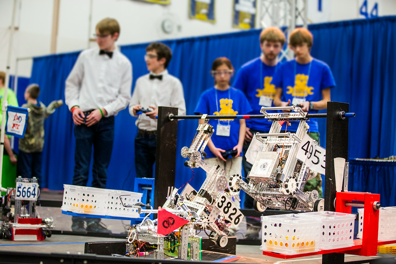 """High school students from throughout Alaska squared off in the Patty Gym in February for an annual robotics competition.  <div class=""""ss-paypal-button"""">Filename: AAR-14-4110-64.jpg</div><div class=""""ss-paypal-button-end""""></div>"""