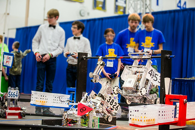 High school students from throughout Alaska squared off in the Patty Gym in February for an annual robotics competition.  Filename: AAR-14-4110-64.jpg