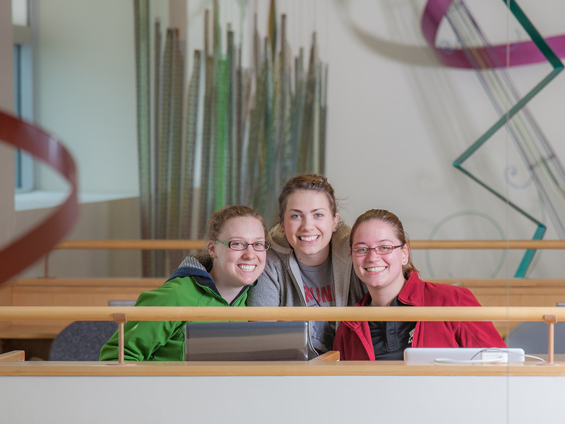 "Biology students Danielle Woodard, left, Tiffany Green and Robin Palmer take a break for a photo while studying in the Reichardt Building.  <div class=""ss-paypal-button"">Filename: AAR-12-3386-73.jpg</div><div class=""ss-paypal-button-end"" style=""""></div>"