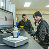 "Dillingham High School students Max Bennett, left, and Jolin Kapotak use a 3-D scanner to record bones of a fetus taken from the womb of a pregnant Orca that washed ashore near Dillingham in Alaska's Bristol Bay a few years ago. The students have been earning high school credit through a cooperative agreement with UAF's Bristol Bay Campus to scan the whale's bones with a 3-D scanner and recreate its skeleton using a 3-D printer.  <div class=""ss-paypal-button"">Filename: AAR-16-4860-388.jpg</div><div class=""ss-paypal-button-end""></div>"