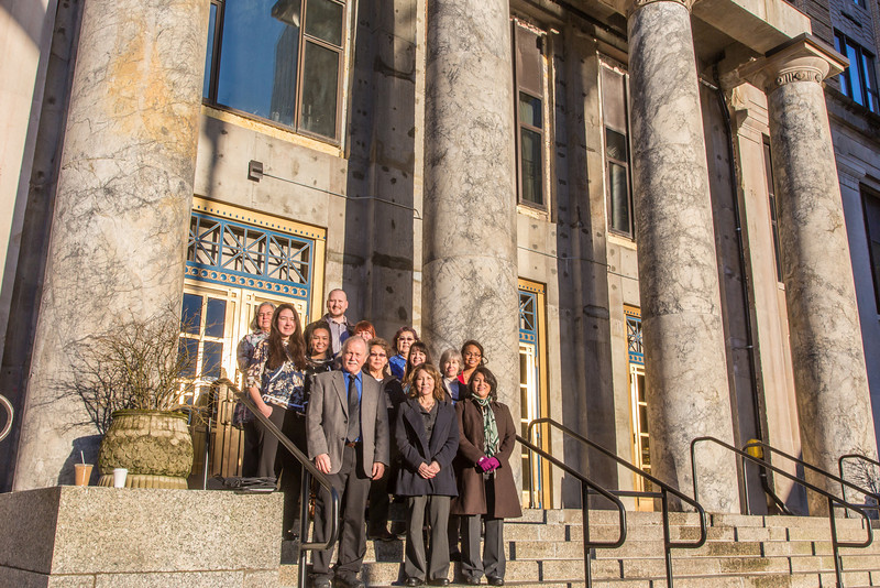 "Associate Professor Mike Davis, front left,  with UAF's Alaska Native Studies and Rural Development program, leads a group of students from rural Alaska in a weeklong seminar on Understanding the Legislative Process in the state capital of Juneau.  <div class=""ss-paypal-button"">Filename: AAR-14-4055-4.jpg</div><div class=""ss-paypal-button-end"" style=""""></div>"