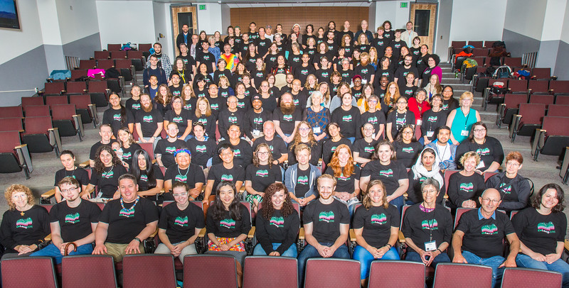 """Participants of the 2016 Collaborative Language Research conference gather for a group photo at the Schaible Auditorium on the Fairbanks campus.  <div class=""""ss-paypal-button"""">Filename: AAR-16-4919-97.jpg</div><div class=""""ss-paypal-button-end""""></div>"""