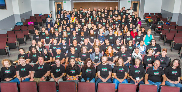Participants of the 2016 Collaborative Language Research conference gather for a group photo at the Schaible Auditorium on the Fairbanks campus.  Filename: AAR-16-4919-97.jpg