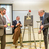 "Professor of Engineering Emeritus Bill Mendenhall, right, helps unveil a plaque during a ceremony in which a Duckering Building classroom was named in his honor.  <div class=""ss-paypal-button"">Filename: AAR-14-4181-65.jpg</div><div class=""ss-paypal-button-end"" style=""""></div>"