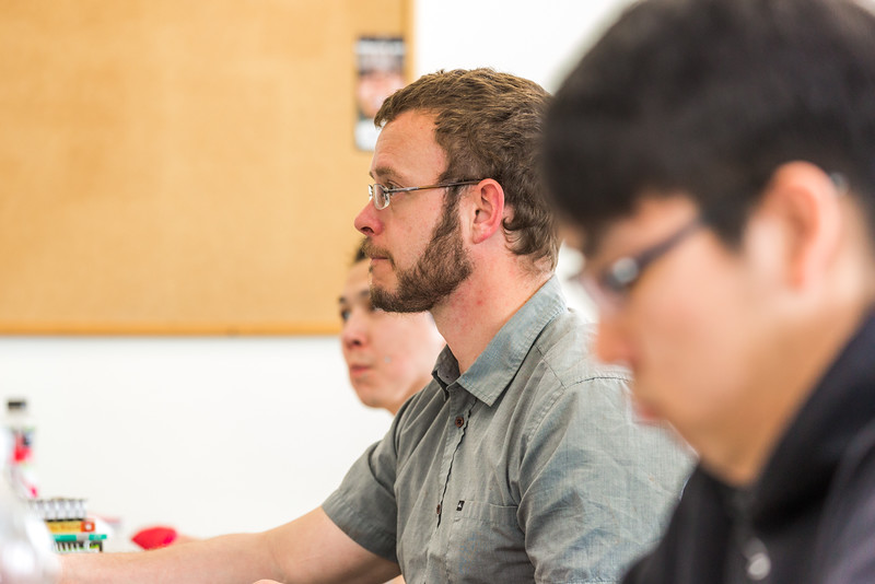 "Ben Kuntz, center, is an asssistant professor of English at UAF's Kuskokwim Campus in Bethel.  <div class=""ss-paypal-button"">Filename: AAR-16-4859-259.jpg</div><div class=""ss-paypal-button-end""></div>"