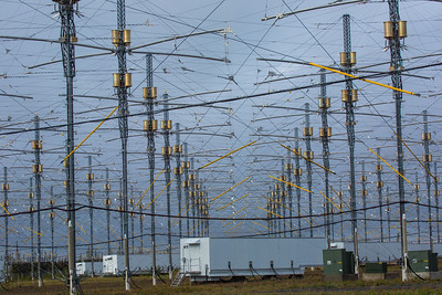 A look at part of the antenae array at the High Frequency Active Auroral Research Program (HAARP) facility in Gakona. The facility was built and operated by the U.S. military before its official transfer to UAF's Geophysical Institute in August 2015.  Filename: AAR-15-4600-027.jpg