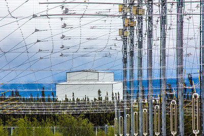 The High Frequency Active Auroral Research Program (HAARP) facility near Gakona comprises a 40-acre grid of towers to  conduct research of the ionosphere. The facility was built and operated by the U.S. Air Force until Aug. 11, 2015, when ownership was transferred to UAF's Geophysical Institute.  Filename: AAR-15-4600-117.jpg