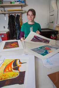 Senior foreign languages major Lindsey Miller spent lots of time in the printmaking studio in the UAF Fine Arts Complex.  Filename: AAR-12-3353-14.jpg