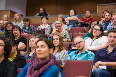 Participants listen to welcoming remarks for the 2016 Collaborative Language Research conference in the Schaible Auditorium on the Fairbanks campus.  Filename: AAR-16-4919-11.jpg