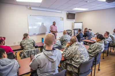 Soldiers stationed at Fort Wainwright have access to college classes through the Education Center on base.  Filename: AAR-14-4135-30.jpg