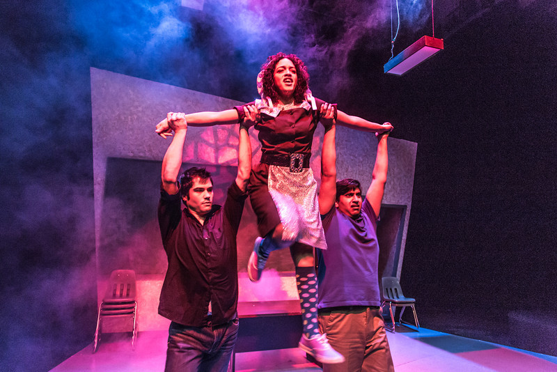 """Cast members Nicole Cowans, center, Thomas Petrie, left, and Sambit Misra rehearse a scene from Theatre UAF's production of """"Speech and Debate.""""  <div class=""""ss-paypal-button"""">Filename: AAR-13-3755-71.jpg</div><div class=""""ss-paypal-button-end"""" style=""""""""></div>"""
