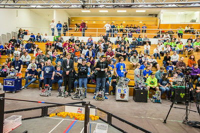 High school students from throughout Alaska squared off in the Patty Gym in February for an annual robotics competition.  Filename: AAR-14-4110-103.jpg