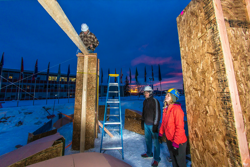 """Engineering students meet on a chilly January morning to work on the 2014 ice arch.  <div class=""""ss-paypal-button"""">Filename: AAR-14-4043-27.jpg</div><div class=""""ss-paypal-button-end""""></div>"""