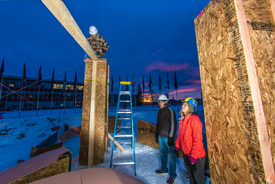 Engineering students meet on a chilly January morning to work on the 2014 ice arch.  Filename: AAR-14-4043-27.jpg