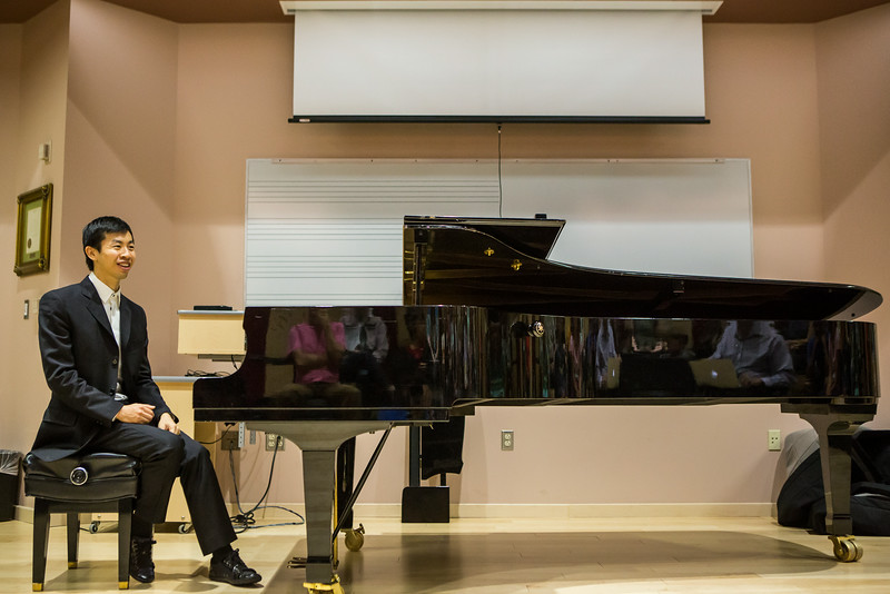 """Contestant Martin Leung, also known as the video game pianist, conducts a public lecture during the Alaska International Piano-e-Competition  <div class=""""ss-paypal-button"""">Filename: AAR-14-4234-9.jpg</div><div class=""""ss-paypal-button-end""""></div>"""