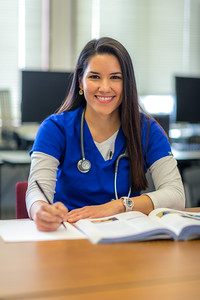 Pre-nursing student Tiffany Scott studies in a computer lab at UAF's Chukchi Campus in Kotzebue.  Filename: AAR-16-4863-472.jpg
