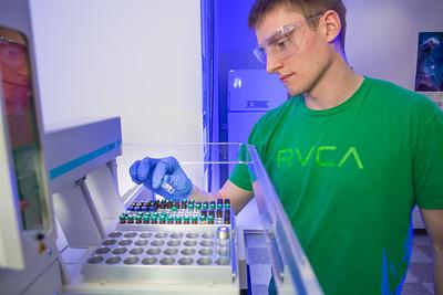 Chemistry major James Micah Simmerman completes a procedure in a Reichardt Building lab.  Filename: AAR-12-3598-127.jpg
