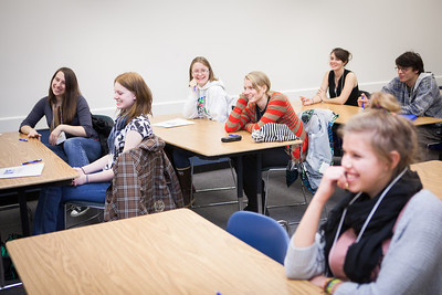 Visiting high school students attend a mock-philosophy class during UAF's InsideOut program in late Oct. 2012 at the Gruening Building.  Filename: AAR-12-3614-84.jpg