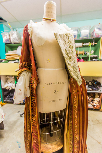 "One of the garments for the Theatre UAF production of Tartuffe is assembled in the costume room in the Fine Arts complex.  <div class=""ss-paypal-button"">Filename: AAR-14-4095-1.jpg</div><div class=""ss-paypal-button-end"" style=""""></div>"