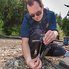 "Trevor Parcell with the Alaska Center for Unmanned Aircraft Systems Integration (ACUASI) sets up a piloting station on a gravel bar along the upper Chena River. The UAV pilot was taking part in a joint effort with the U.S. Fish and Wildlife Service to collect video of important king salmon spawning habitat.  <div class=""ss-paypal-button"">Filename: AAR-15-4593-149.jpg</div><div class=""ss-paypal-button-end""></div>"