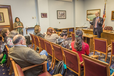 Students from UAF's Alaska Native Studies and Rural Development program hear from state Senate Minority Leader Hollis French during their weeklong seminar on Understanding the Legislative Process in the state capital of Juneau.  Filename: AAR-14-4055-279.jpg