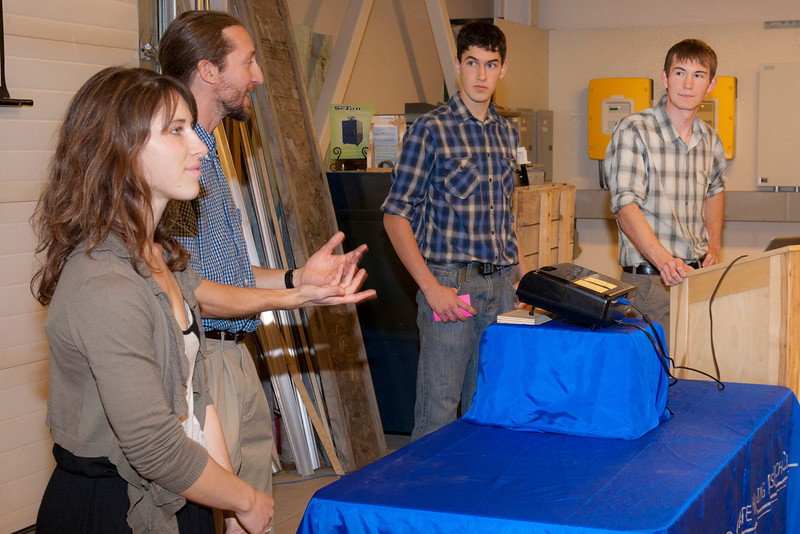 """Rachael Skye Sturm, Erik Williams, Lyle Axelarris, and Garrett Evridge of Team Circle Visions present their idea for the UAF Sustainable Village Design Competition.  <div class=""""ss-paypal-button"""">AAR-11-3198-22.jpg</div><div class=""""ss-paypal-button-end"""" style=""""""""></div>"""