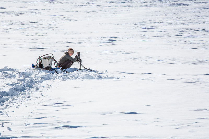 """Geophysical Institute graduate student Joanna  Young sets up a steam drill to install stakes for measuring glacier melt on the Jarvis Glacier, about 35 miles south of Delta Junction.  <div class=""""ss-paypal-button"""">Filename: AAR-13-3795-654.jpg</div><div class=""""ss-paypal-button-end"""" style=""""""""></div>"""